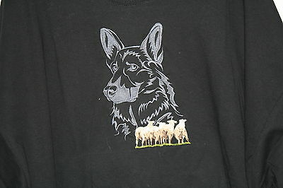 German Shepherd Dog Sheep Herding Embroidered On A 3XLarge Black  T-Shirt
