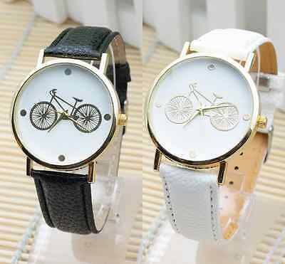 NEW Womens Mens Vogue Bicycle Dial Watches Couple Fashion Leather Quartz Watch