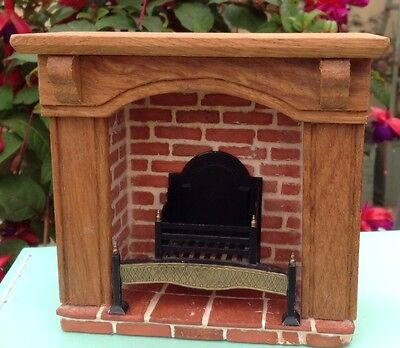1/12, handmade, real miniature brick, fire place, wood surround, with fire
