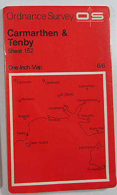 1966 old OS Ordnance Survey seventh series one-inch Map 152 Carmarthen & Tenby