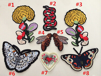 Patches Butterfly Bee flower sew Applique  sequins clothing accessory hat jean
