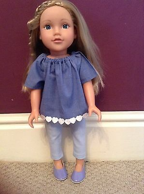 "Design A Friend Our Generation 18"" Dolls Outfit. Pretty Blue Top And Leggings"