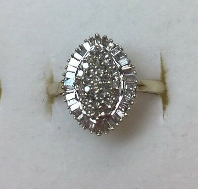 Natural (REAL) DIAMOND Ladies Cluster RING solid 10k yellow gold