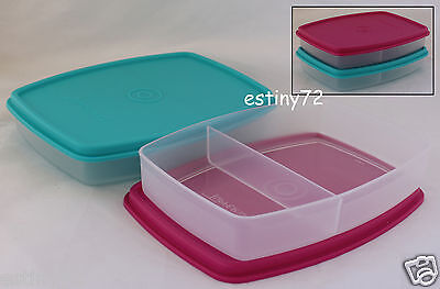 Tupperware Kids Side By Side Divided Packette Lunch Sandwich Containers (2) New