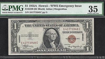 $1 1935A HAWAII - WWII EMERENCY ISSUE Fr.2300 PMG 35 CHOICE VERY FINE