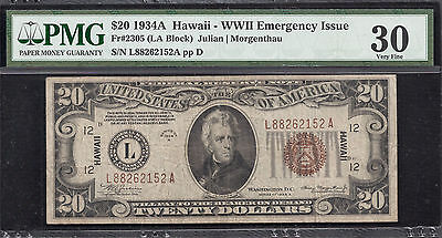 $20 1934A HAWAII - WWII EMERENCY ISSUE Fr.2305 PMG 30 VERY FINE