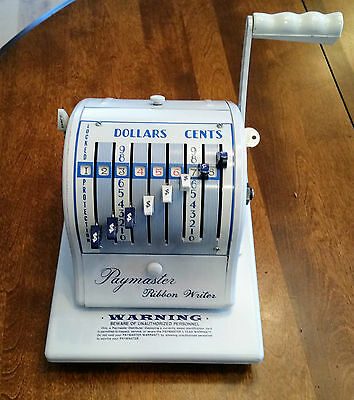 Paymaster 8000 vintage ribbon cheque writer (Canadian) c/w key and company stamp