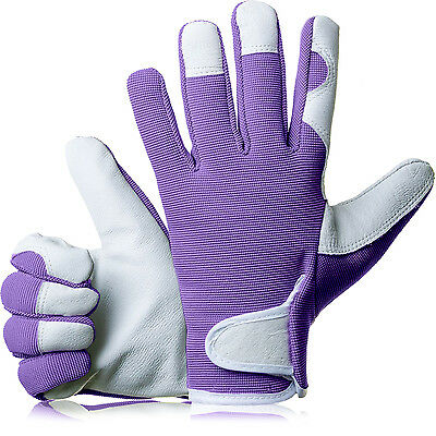 GardenersDream Ladies / Mens Slim Fit Leather Gardening Work Gloves - Purple