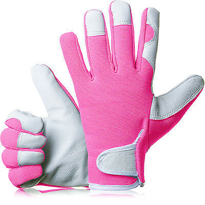 GardenersDream Ladies / Mens Slim Fit Leather Gardening Work Gloves - Pink