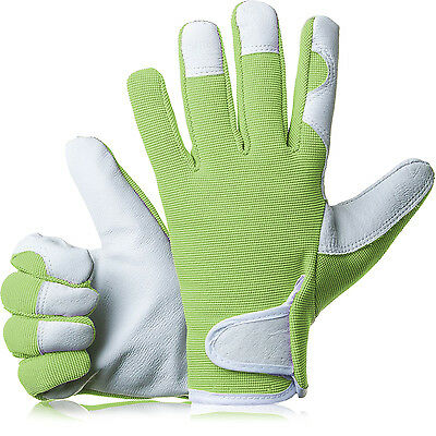 GardenersDream Ladies / Mens Slim Fit Leather Gardening Work Gloves - Green