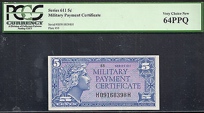 Series 611 5¢ Military Payment Certificate Pcgs 64 Ppq Very Choice New
