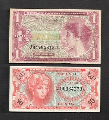 Series 641 $1 One Dollar And 50 ¢ Military Payment Certificates Vf+