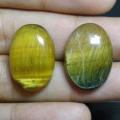 47.15cts Designer A+ 100% Natural Yellow Tiger Eye Pair Oval Pare  Cabochon
