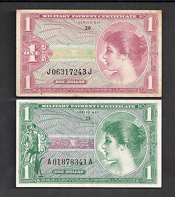 Series 641 & 651 $1 One Dollar Military Payment Certificates Vf