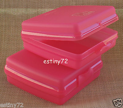 Tupperware Kids Sandwich Keepers / Lunch Box Set (2) Pink Punch New