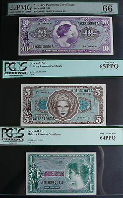 Series 651 $1, $5 And $10 Military Payment Certificates Pmg And Pcgs