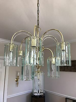 Vintage Luminaire 10 Light Chandelier - Brass With 60 Glass Panels