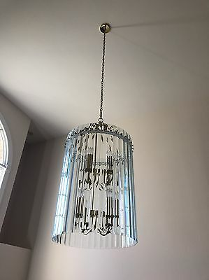 Vintage Luminaire 16 Light Chandelier -  Brass With 38 Glass Panels