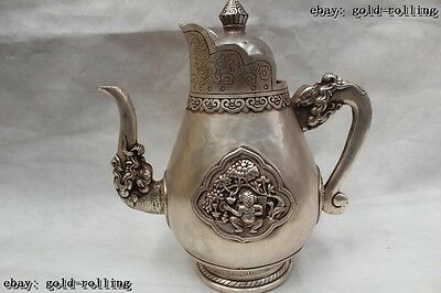 "10""China Chinese Folk Silver Lucky excellent Dragon animal wine pot flagon"