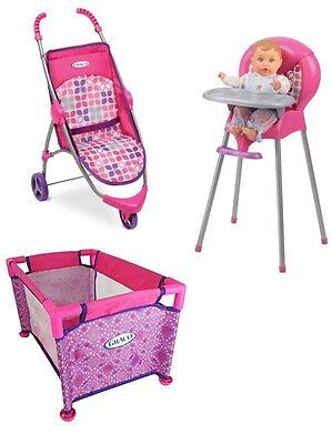 New Graco Baby Doll Highchair Jogging Stroller & Pack N Play Crib Pen Yard Lot
