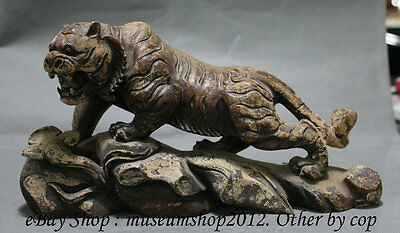 """12"""" Antique Chinese Royal Old Jade Hand Carved Animal Zodiac Tiger Lucky Statue"""