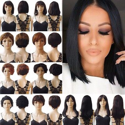 Top Fashion Women Ladies Short Real Remy Human Hair Wig Curly Straight Ombre #DY