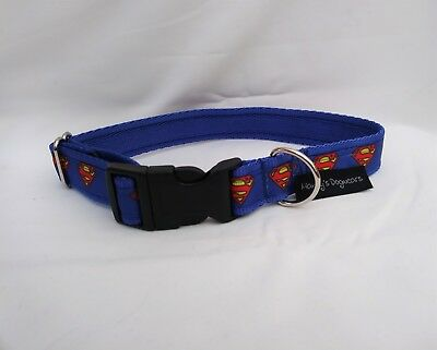 Superman dog collar or lead blue medium/large dogs