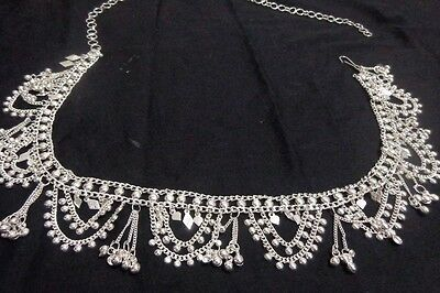 ethnic women silver coin Hip Belt Belly Dance metal waist club India scarf  ATS