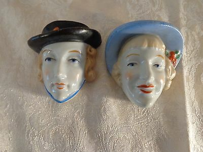 Vintage Art Deco Heads,two Women Wall Pockets Made In Japan