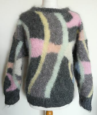 Vintage ANDY WELCH ORIGINALS Grey Multi Fish Mohair Jumper Sweater L UK 14 16