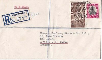 South Africa 1952 Registered cover from MOTORTOWN  to London. UK