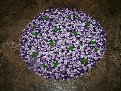 Vintage 12'' Round Ladies Hanky Handkerchief With Purple Violets Flowers