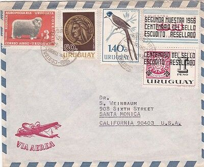 Uruguay 1954 Air mail from Montevideo to USA