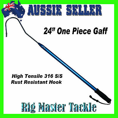 """24"""" One Piece 316 S/S Gaff Aircraft Aluminum Shaft with High Tensile Hook"""