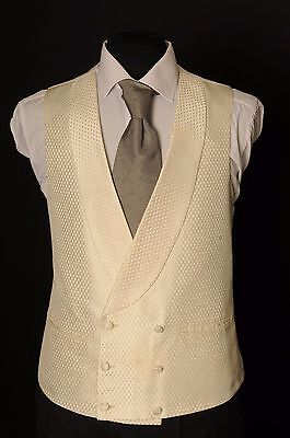 W - 1094.mens Gold Honeycomb Double Breasted Wedding Waistcoat/ Dress / Fancy /