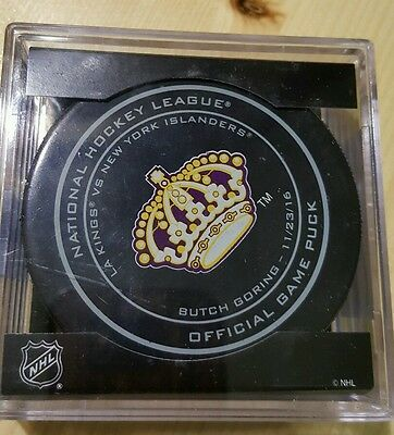 2016-17 Sherwood Butch Goring Los Angeles Kings Legends Night Game Puck 11/23