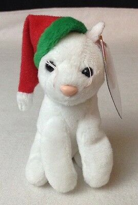 NEW w Tags  TY Holiday Baby Beanie - TWINKLING the White Cat (4 inch) - MWMT's