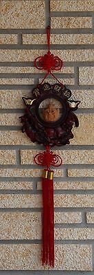 Asian Oriental Hotei Happy Buddha Red Hanging Lucky Knots Carved Wood Wall Art