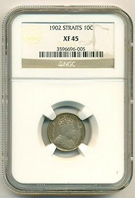 Straits Settlements (Malaysia) Silver 1902 10 Cents XF45 NGC