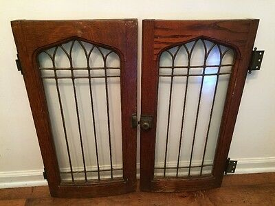 Matched Pair Antique Oak Leaded Glass Cabinet Doors Slightly Curved