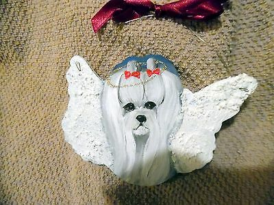 Hand Painted Maltese Angel  Christmas Ornament