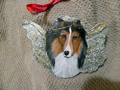 Hand Painted Sheltie  Angel  Christmas Ornament