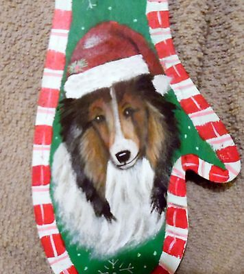 Hand Painted Sheltie  Mitten   Christmas Ornament