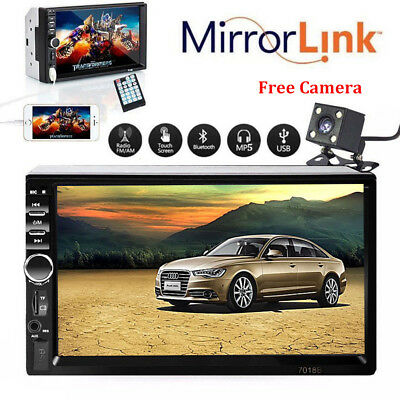 7'' HD Bluetooth Touch Screen Car Stereo Radio 2 DIN FM MP5 MP3 USB AUX Camera