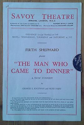 The Man Who Came To Dinner programme Savoy Theatre 1940s Constance Lorne