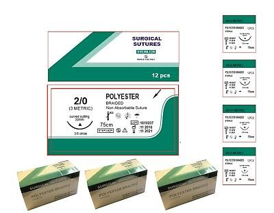 12 Polyester Braided sutures 75cm 3/0 4/0 5/0 Dental Implant Suture Vet Surgery