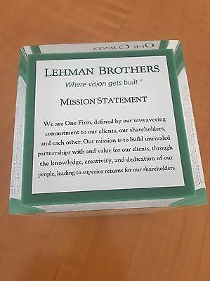 Lehman Brothers Mission Statement Cube