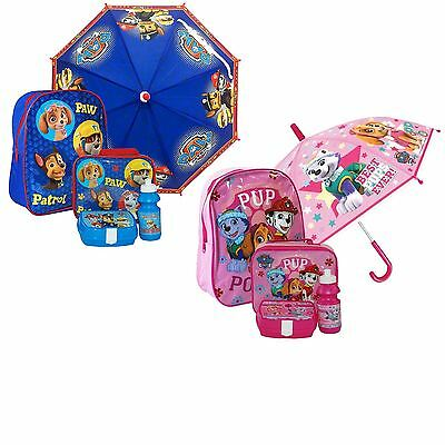 Paw Patrol Umbrella Set School Bag, Lunch Bag Sandwich Box and Drinking Bottle