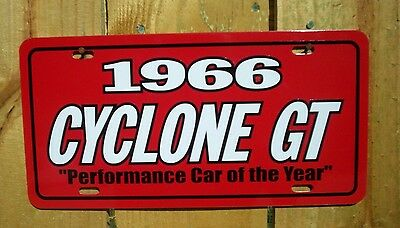 Red 1966 Mercury CYCLONE GT Performance Car of the Year License plate tag 66