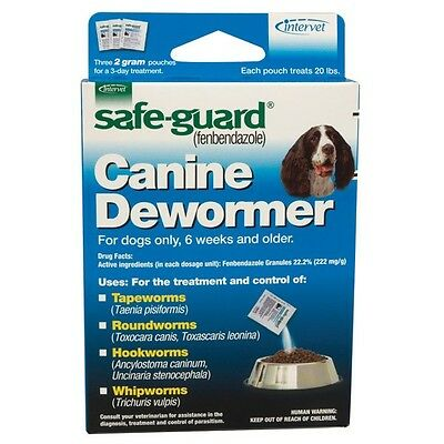 Safe-Guard® Canine Dewormer 20 lb Dogs TreatTapeworms Roundworm Hook Whipworm